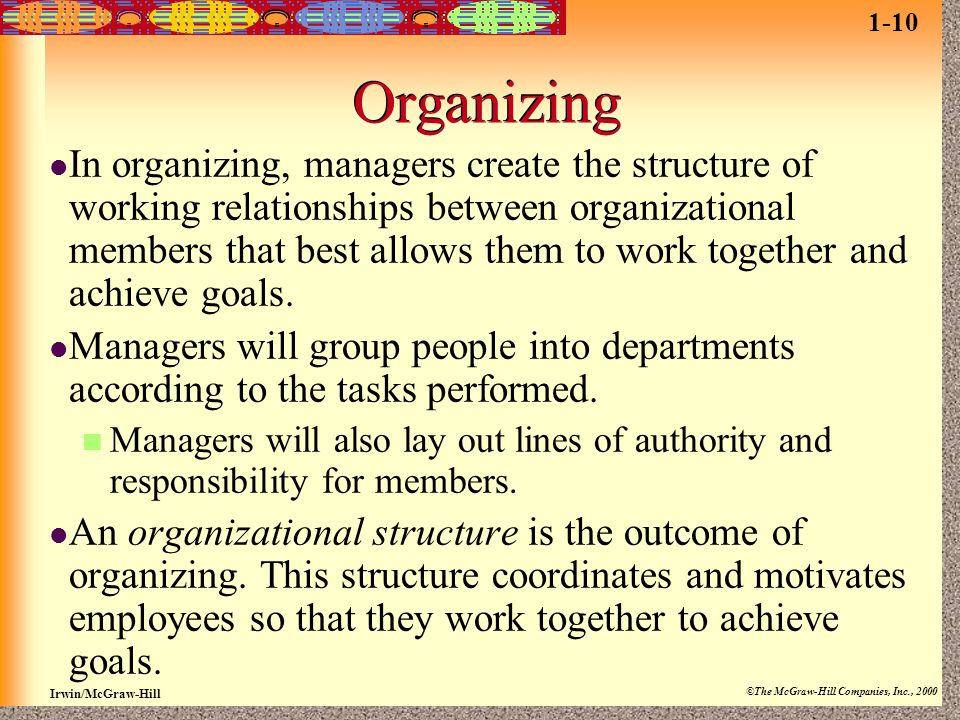 Irwin/McGraw-Hill ©The McGraw-Hill Companies, Inc., 2000 Organizing In organizing, managers create the structure of working relationships between orga