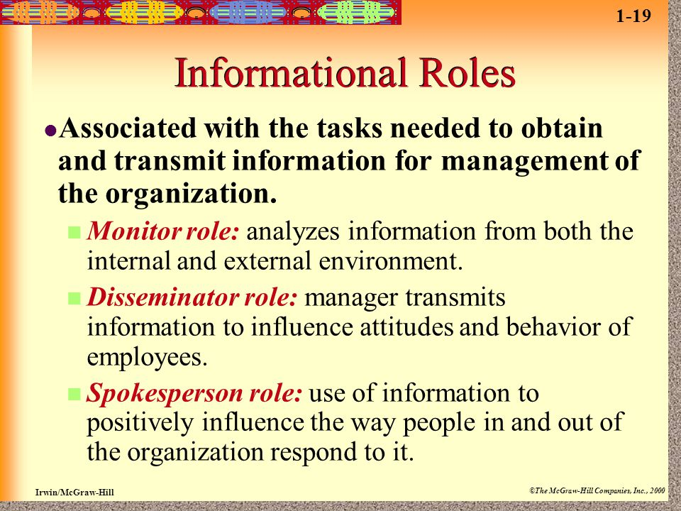 Irwin/McGraw-Hill ©The McGraw-Hill Companies, Inc., 2000 Informational Roles Associated with the tasks needed to obtain and transmit information for m