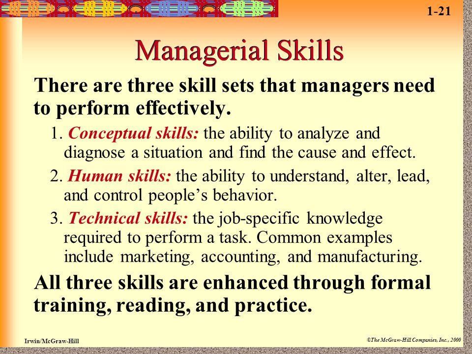 Irwin/McGraw-Hill ©The McGraw-Hill Companies, Inc., 2000 Managerial Skills There are three skill sets that managers need to perform effectively. 1. Co