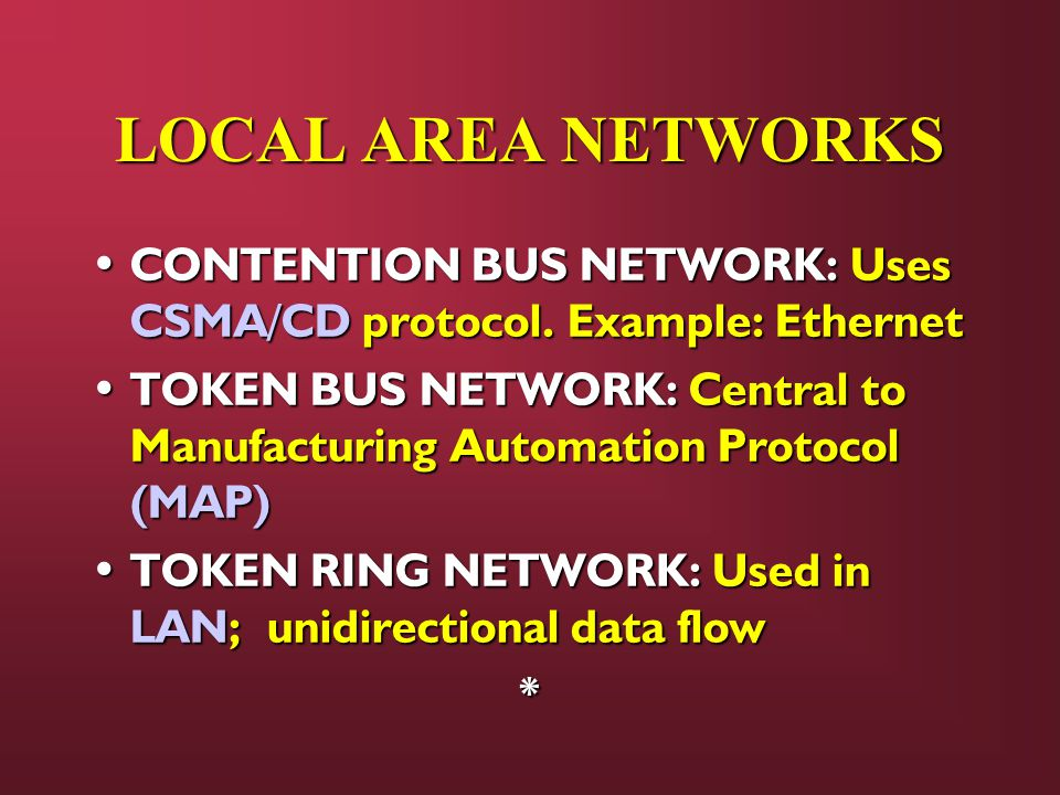 LOCAL AREA NETWORKS CONTENTION BUS NETWORK: Uses CSMA/CD protocol.
