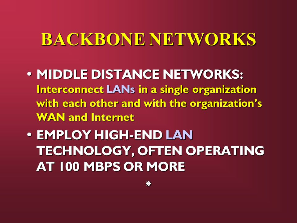 BACKBONE NETWORKS MIDDLE DISTANCE NETWORKS: Interconnect LANs in a single organization with each other and with the organization's WAN and Internet MIDDLE DISTANCE NETWORKS: Interconnect LANs in a single organization with each other and with the organization's WAN and Internet EMPLOY HIGH-END LAN TECHNOLOGY, OFTEN OPERATING AT 100 MBPS OR MORE EMPLOY HIGH-END LAN TECHNOLOGY, OFTEN OPERATING AT 100 MBPS OR MORE*