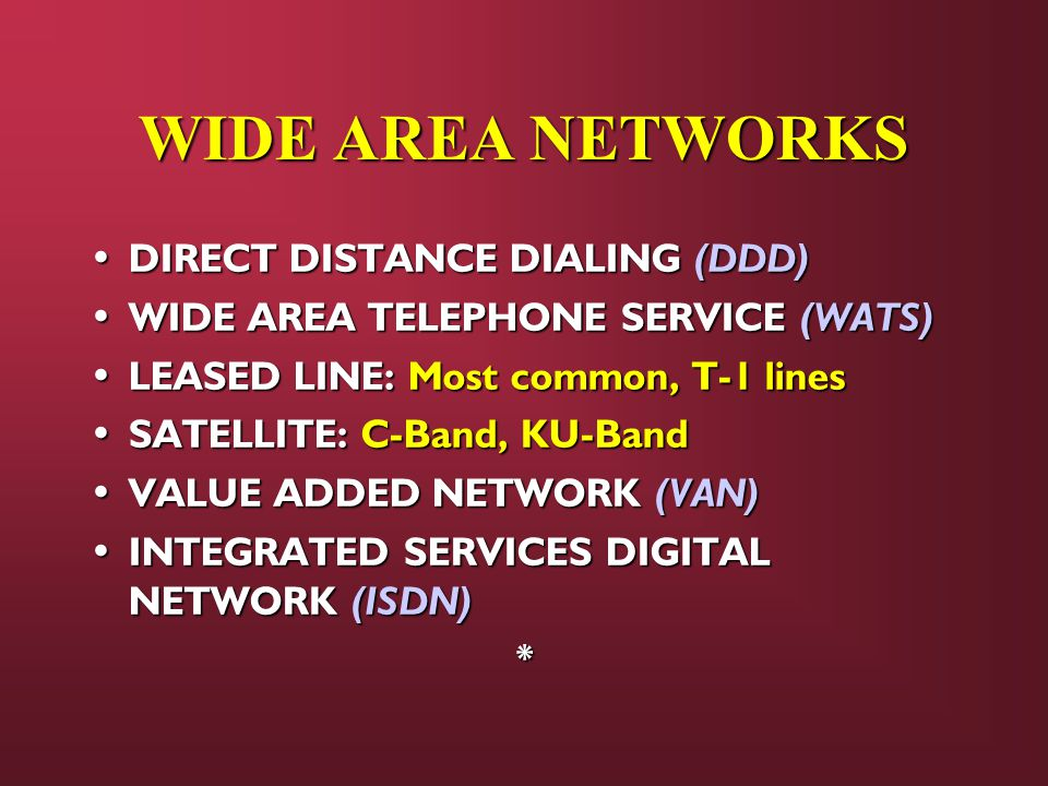 WIDE AREA NETWORKS DIRECT DISTANCE DIALING (DDD) DIRECT DISTANCE DIALING (DDD) WIDE AREA TELEPHONE SERVICE (WATS) WIDE AREA TELEPHONE SERVICE (WATS) LEASED LINE: Most common, T-1 lines LEASED LINE: Most common, T-1 lines SATELLITE: C-Band, KU-Band SATELLITE: C-Band, KU-Band VALUE ADDED NETWORK (VAN) VALUE ADDED NETWORK (VAN) INTEGRATED SERVICES DIGITAL NETWORK (ISDN) INTEGRATED SERVICES DIGITAL NETWORK (ISDN)*