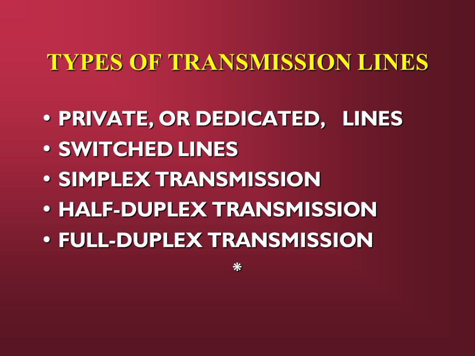 TYPES OF TRANSMISSION LINES PRIVATE, OR DEDICATED, LINES PRIVATE, OR DEDICATED, LINES SWITCHED LINES SWITCHED LINES SIMPLEX TRANSMISSION SIMPLEX TRANSMISSION HALF-DUPLEX TRANSMISSION HALF-DUPLEX TRANSMISSION FULL-DUPLEX TRANSMISSION FULL-DUPLEX TRANSMISSION*