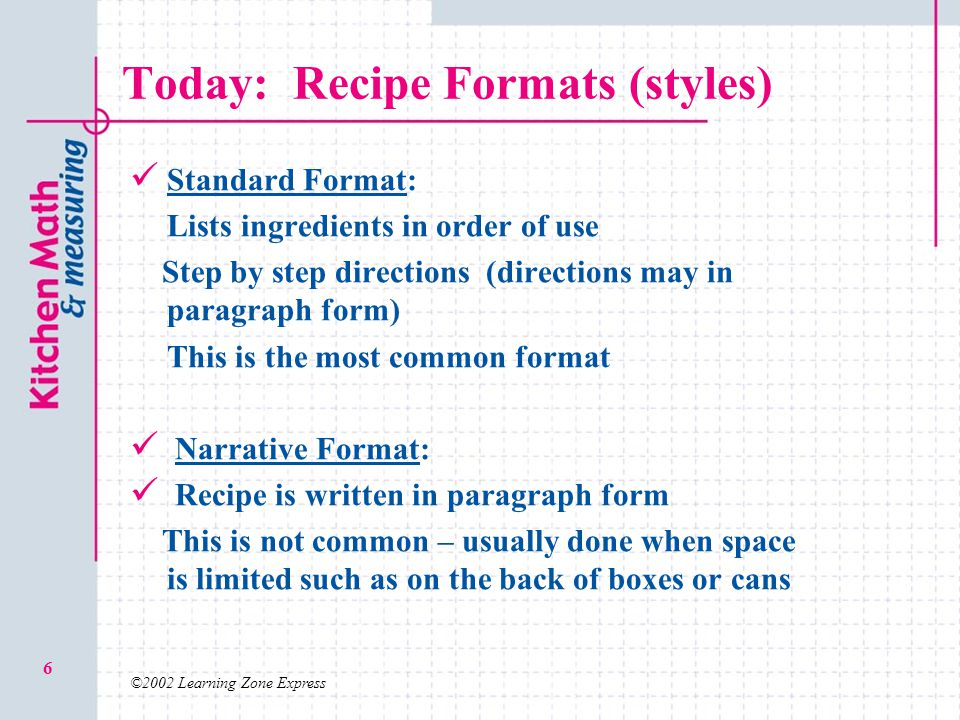 standard form recipe