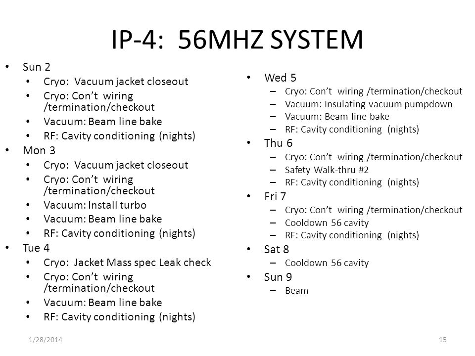 IP-4: 56MHZ SYSTEM Sun 2 Cryo: Vacuum jacket closeout Cryo: Con't wiring /termination/checkout Vacuum: Beam line bake RF: Cavity conditioning (nights) Mon 3 Cryo: Vacuum jacket closeout Cryo: Con't wiring /termination/checkout Vacuum: Install turbo Vacuum: Beam line bake RF: Cavity conditioning (nights) Tue 4 Cryo: Jacket Mass spec Leak check Cryo: Con't wiring /termination/checkout Vacuum: Beam line bake RF: Cavity conditioning (nights) Wed 5 – Cryo: Con't wiring /termination/checkout – Vacuum: Insulating vacuum pumpdown – Vacuum: Beam line bake – RF: Cavity conditioning (nights) Thu 6 – Cryo: Con't wiring /termination/checkout – Safety Walk-thru #2 – RF: Cavity conditioning (nights) Fri 7 – Cryo: Con't wiring /termination/checkout – Cooldown 56 cavity – RF: Cavity conditioning (nights) Sat 8 – Cooldown 56 cavity Sun 9 – Beam 1/28/201415