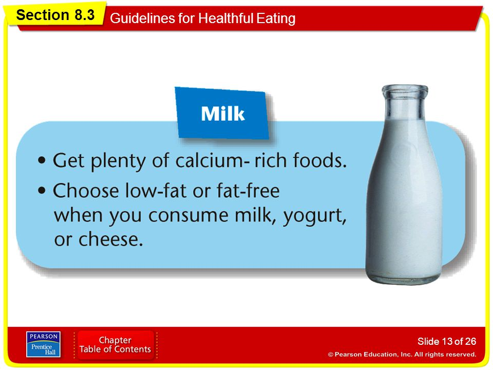Section 8.3 Guidelines for Healthful Eating Slide 13 of 26
