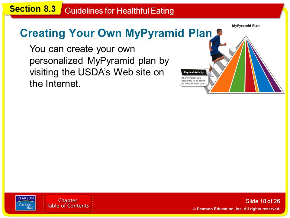 Section 8.3 Guidelines for Healthful Eating Slide 18 of 26 You can create your own personalized MyPyramid plan by visiting the USDA's Web site on the Internet.