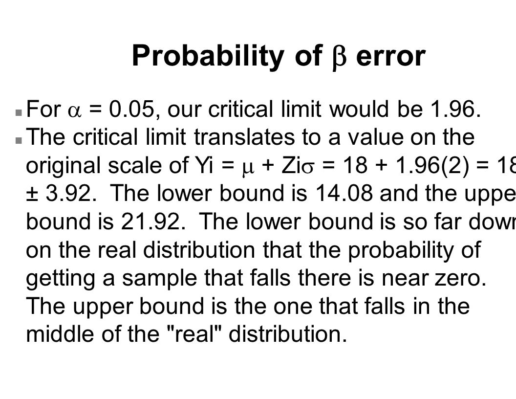 Probability of  error For  = 0.05, our critical limit would be 1.96.