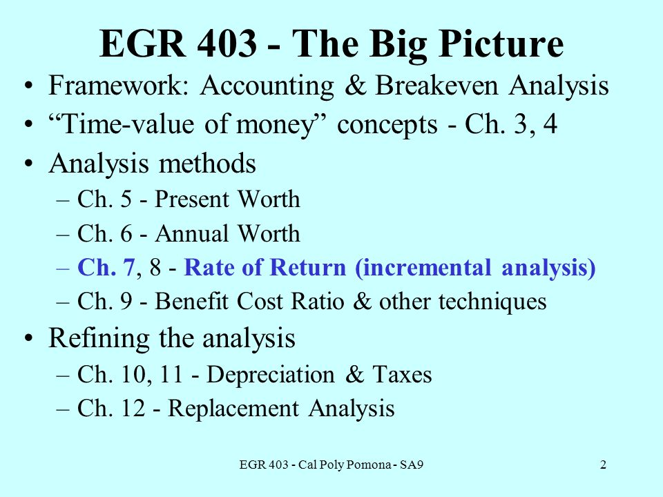 EGR Cal Poly Pomona - SA92 EGR The Big Picture Framework: Accounting & Breakeven Analysis Time-value of money concepts - Ch.
