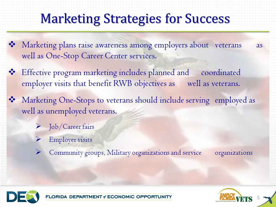 5  Marketing plans raise awareness among employers about veterans as well as One-Stop Career Center services.
