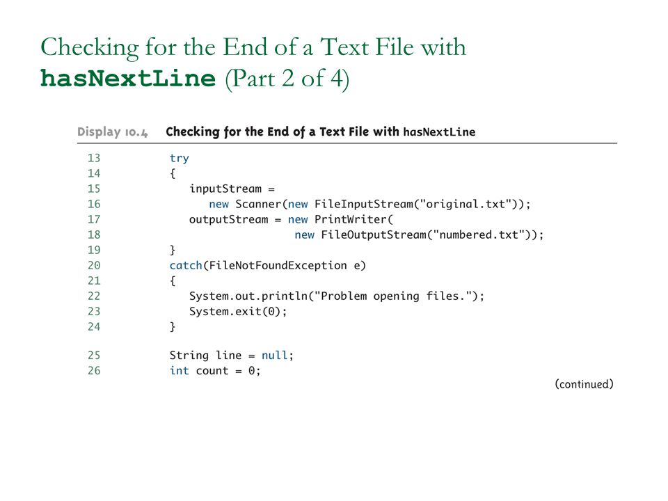 Checking for the End of a Text File with hasNextLine (Part 2 of 4)