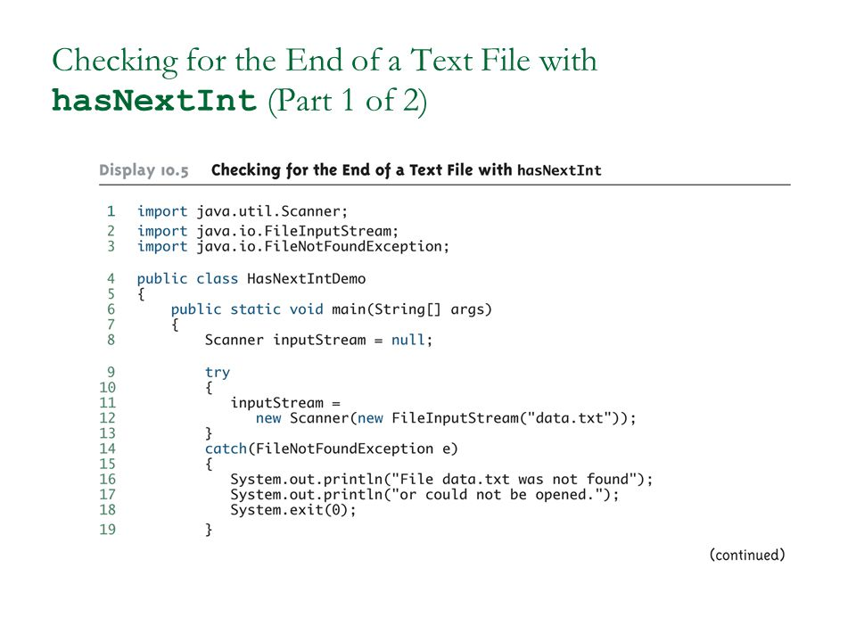 Checking for the End of a Text File with hasNextInt (Part 1 of 2)