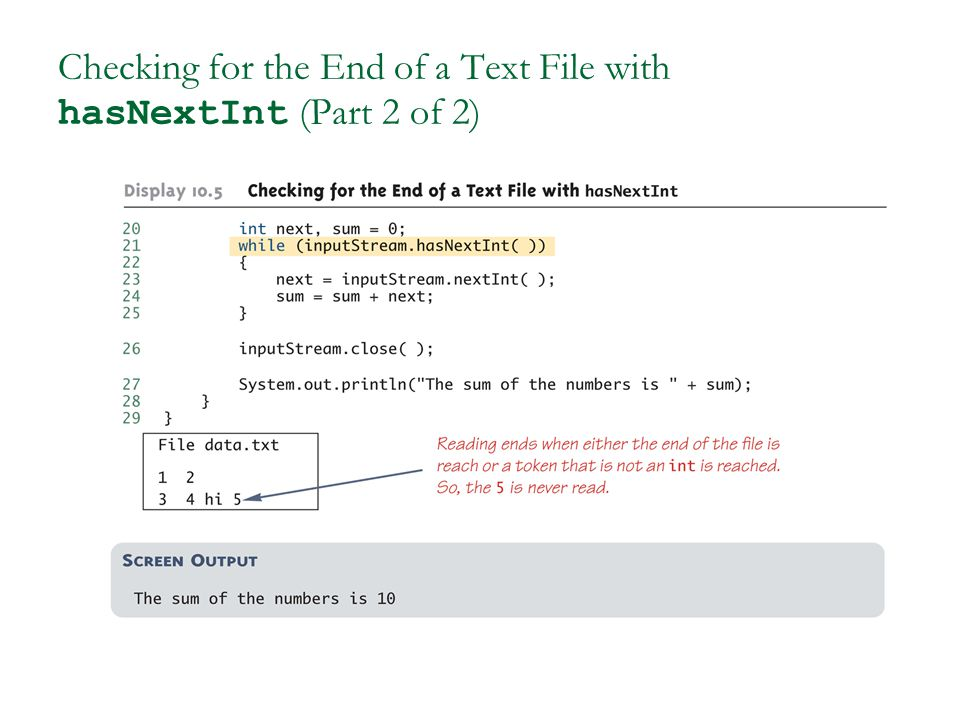Checking for the End of a Text File with hasNextInt (Part 2 of 2)