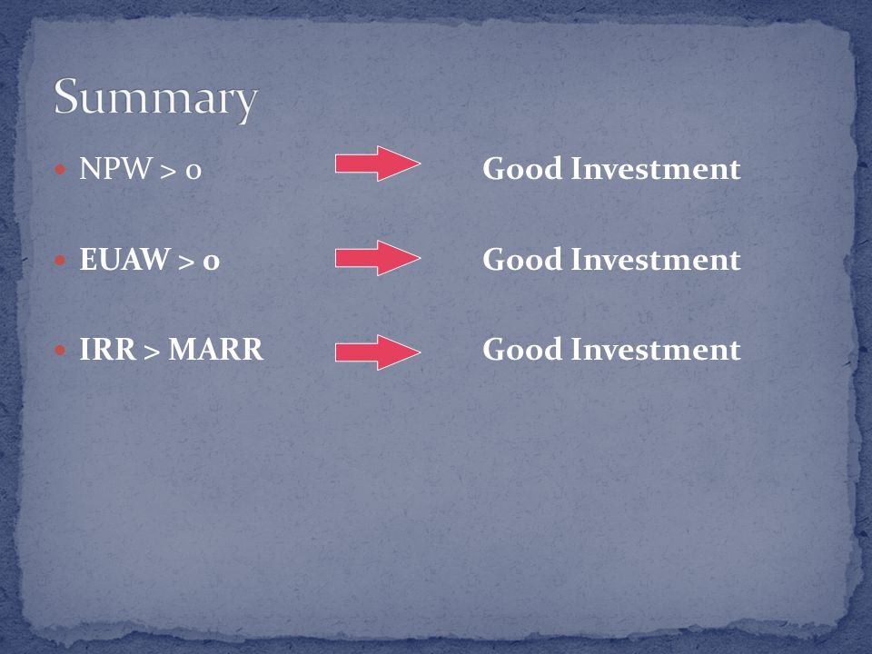 NPW > 0 Good Investment EUAW > 0 Good Investment IRR > MARR Good Investment