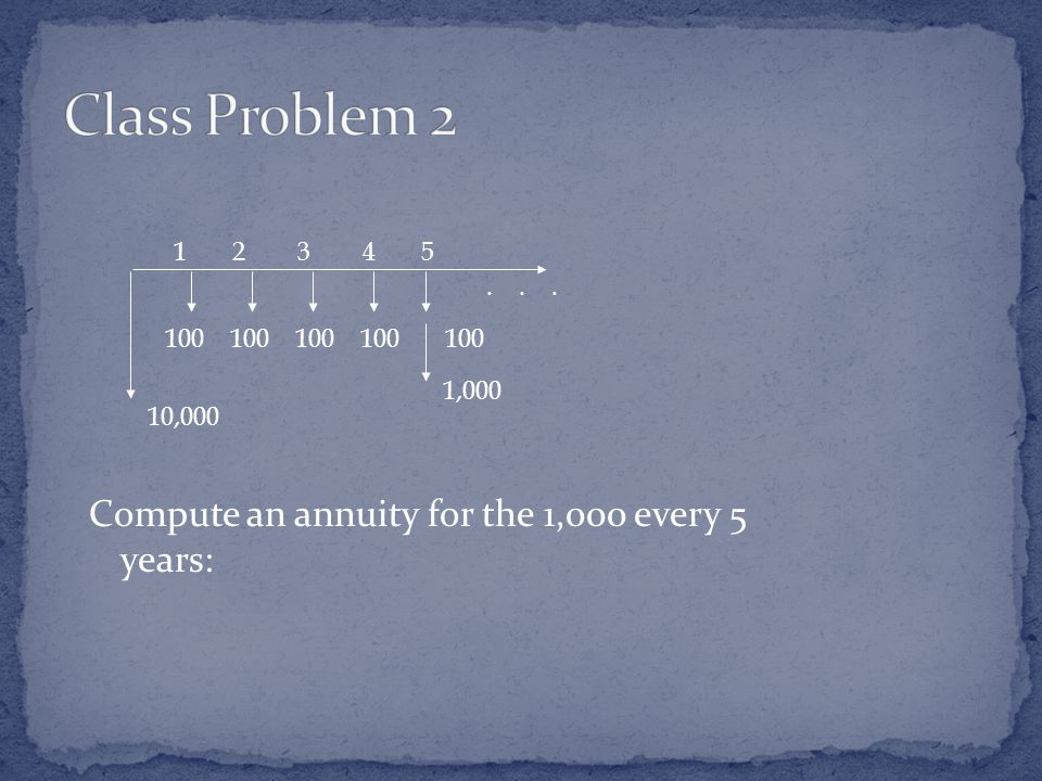 Compute an annuity for the 1,000 every 5 years: ,000 1,000