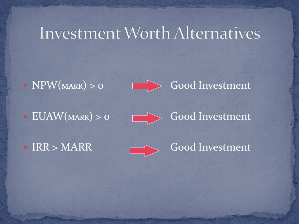 NPW( MARR ) > 0Good Investment EUAW( MARR ) > 0Good Investment IRR > MARRGood Investment