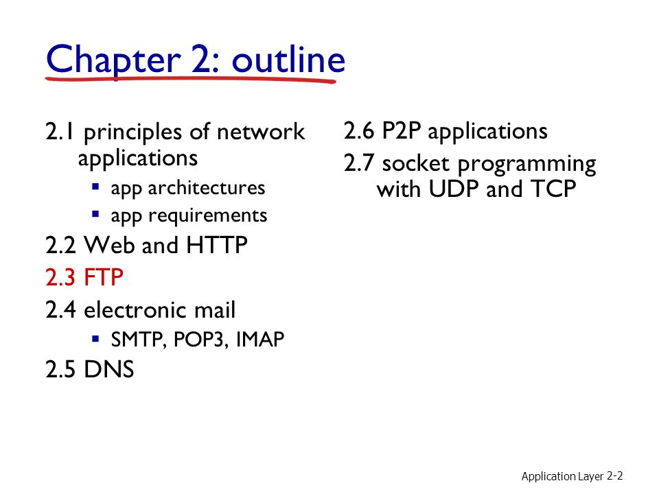 Application Layer 2-2 Chapter 2: outline 2.1 principles of network applications  app architectures  app requirements 2.2 Web and HTTP 2.3 FTP 2.4 electronic mail  SMTP, POP3, IMAP 2.5 DNS 2.6 P2P applications 2.7 socket programming with UDP and TCP