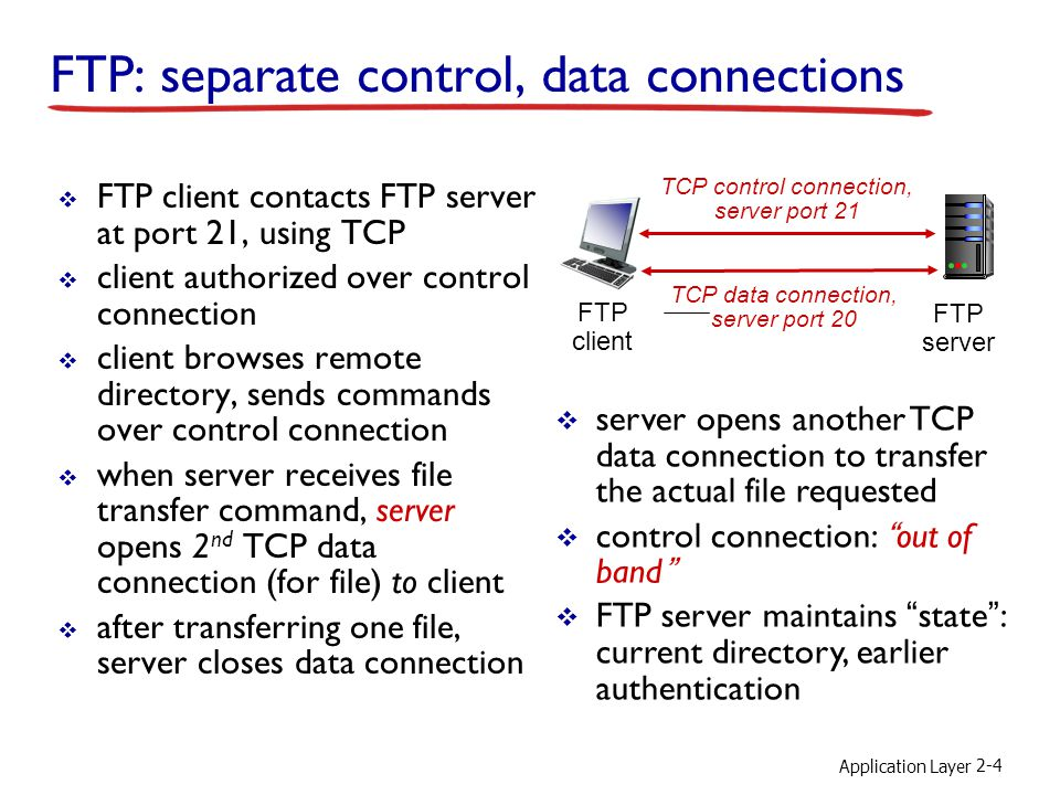 Application Layer 2-4 FTP: separate control, data connections  FTP client contacts FTP server at port 21, using TCP  client authorized over control connection  client browses remote directory, sends commands over control connection  when server receives file transfer command, server opens 2 nd TCP data connection (for file) to client  after transferring one file, server closes data connection FTP client FTP server TCP control connection, server port 21 TCP data connection, server port 20  server opens another TCP data connection to transfer the actual file requested  control connection: out of band  FTP server maintains state : current directory, earlier authentication