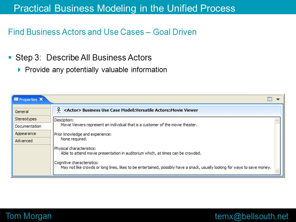 Practical Business Modeling in the Unified Process Tom Morgan Find Business Actors and Use Cases – Goal Driven  Step 3: Describe All Business Actors  Provide any potentially valuable information