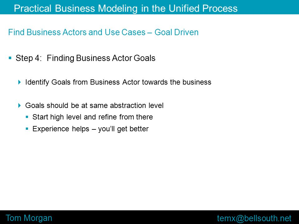 Practical Business Modeling in the Unified Process Tom Morgan Find Business Actors and Use Cases – Goal Driven  Step 4: Finding Business Actor Goals  Identify Goals from Business Actor towards the business  Goals should be at same abstraction level  Start high level and refine from there  Experience helps – you'll get better