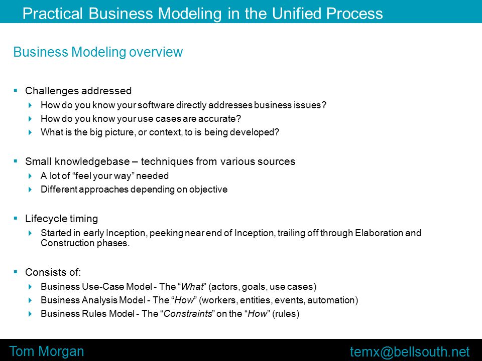 Practical Business Modeling in the Unified Process Tom Morgan Business Modeling overview  Challenges addressed  How do you know your software directly addresses business issues.
