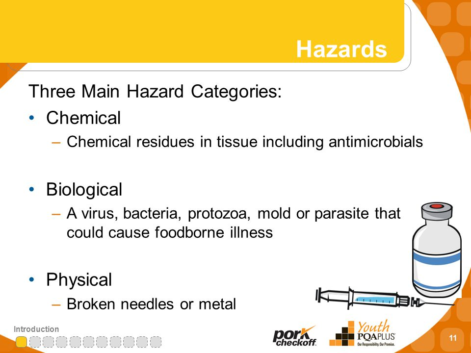 11 Introduction Hazards Three Main Hazard Categories: Chemical –Chemical residues in tissue including antimicrobials Biological –A virus, bacteria, protozoa, mold or parasite that could cause foodborne illness Physical –Broken needles or metal