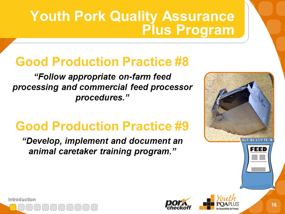 16 Introduction Good Production Practice #8 Follow appropriate on-farm feed processing and commercial feed processor procedures. Good Production Practice #9 Develop, implement and document an animal caretaker training program. Youth Pork Quality Assurance Plus Program