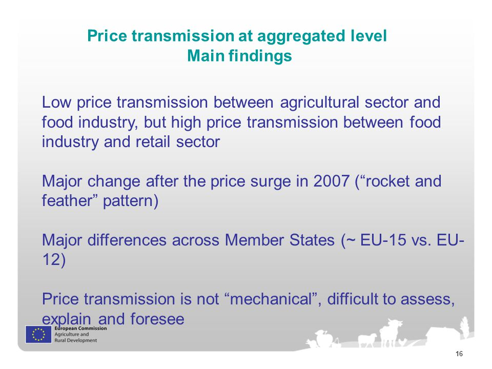 16 Price transmission at aggregated level Main findings Low price transmission between agricultural sector and food industry, but high price transmission between food industry and retail sector Major change after the price surge in 2007 ( rocket and feather pattern) Major differences across Member States (~ EU-15 vs.