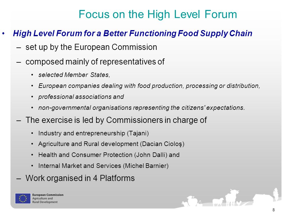 8 Focus on the High Level Forum High Level Forum for a Better Functioning Food Supply Chain –set up by the European Commission –composed mainly of representatives of selected Member States, European companies dealing with food production, processing or distribution, professional associations and non-governmental organisations representing the citizens expectations.