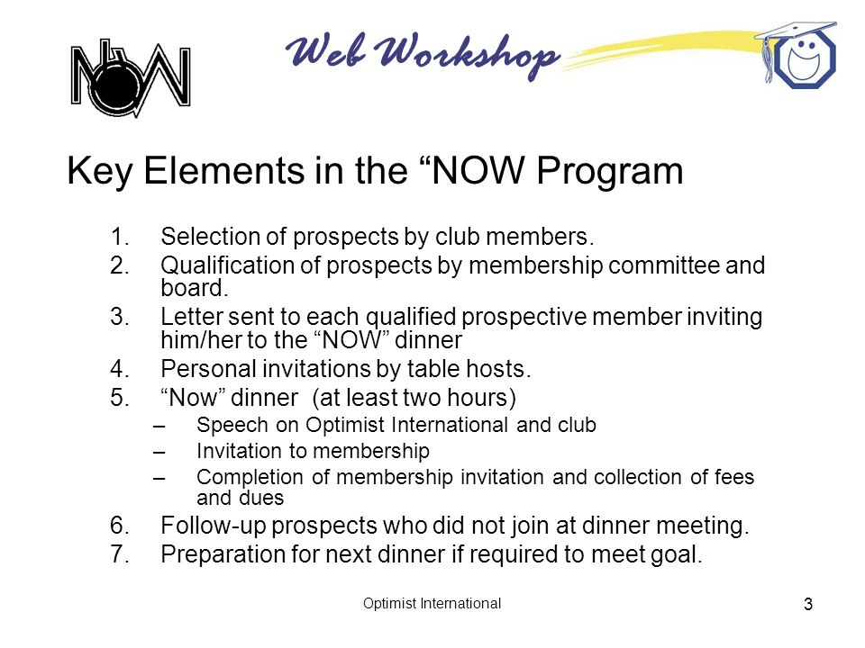 Web Workshop Optimist International 3 Key Elements in the NOW Program 1.Selection of prospects by club members.