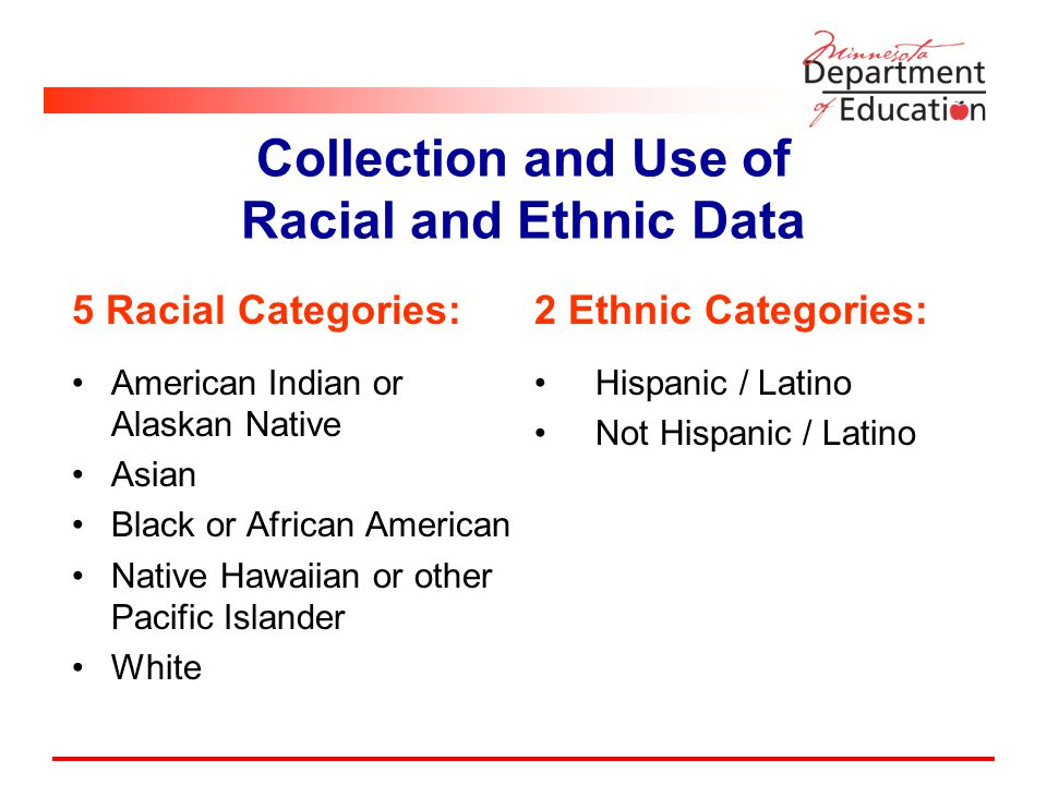 5 Racial Categories: American Indian or Alaskan Native Asian Black or African American Native Hawaiian or other Pacific Islander White 2 Ethnic Categories: Hispanic / Latino Not Hispanic / Latino Collection and Use of Racial and Ethnic Data