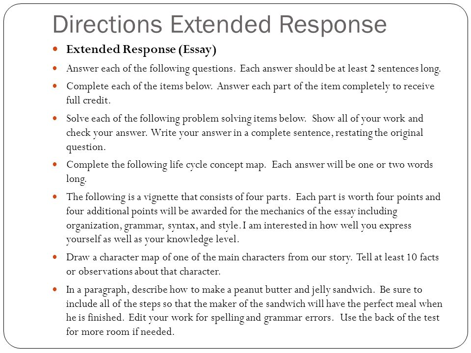direction essay following