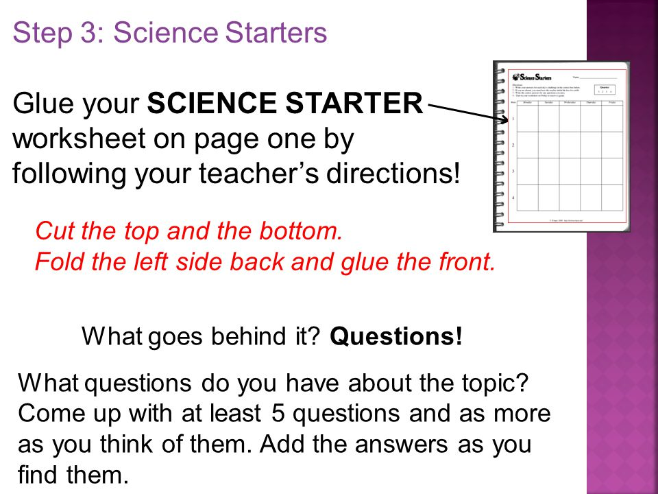 Worksheet Science Starters Worksheet t trimpe source gretchen vikingson at ppt download step 3 science starters glue your starter worksheet on page one by following your