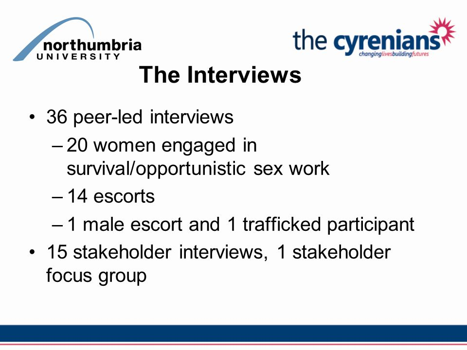 The Interviews 36 peer-led interviews –20 women engaged in survival/opportunistic sex work –14 escorts –1 male escort and 1 trafficked participant 15 stakeholder interviews, 1 stakeholder focus group