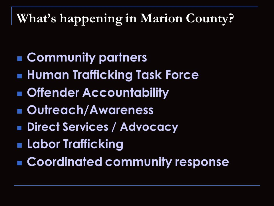 What's happening in Marion County.