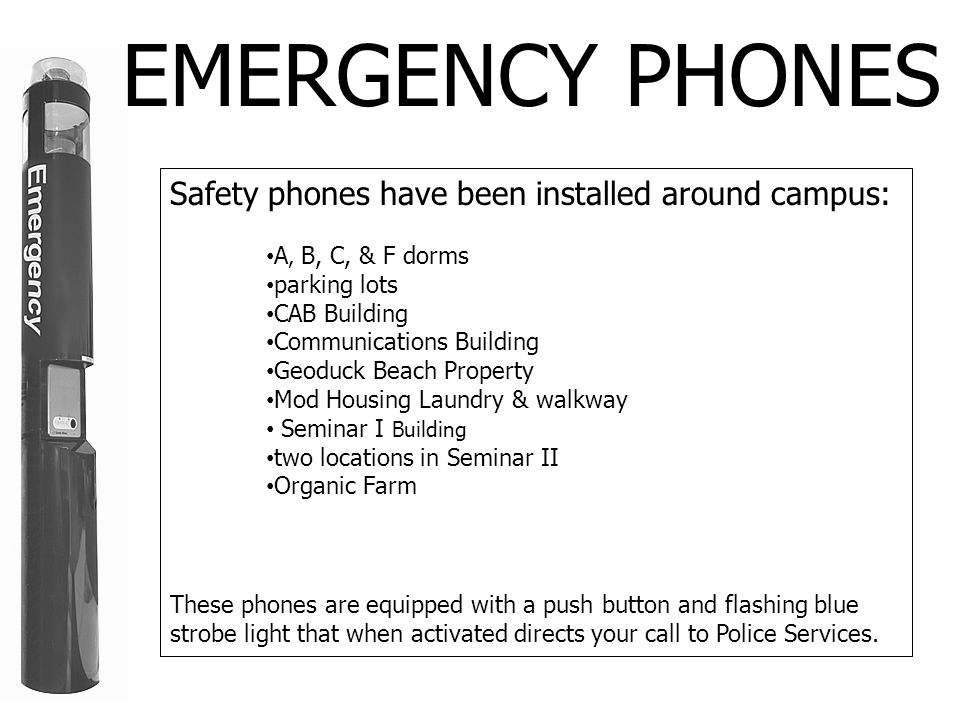 EMERGENCY PHONES Safety phones have been installed around campus: A, B, C, & F dorms parking lots CAB Building Communications Building Geoduck Beach Property Mod Housing Laundry & walkway Seminar I Building two locations in Seminar II Organic Farm These phones are equipped with a push button and flashing blue strobe light that when activated directs your call to Police Services.