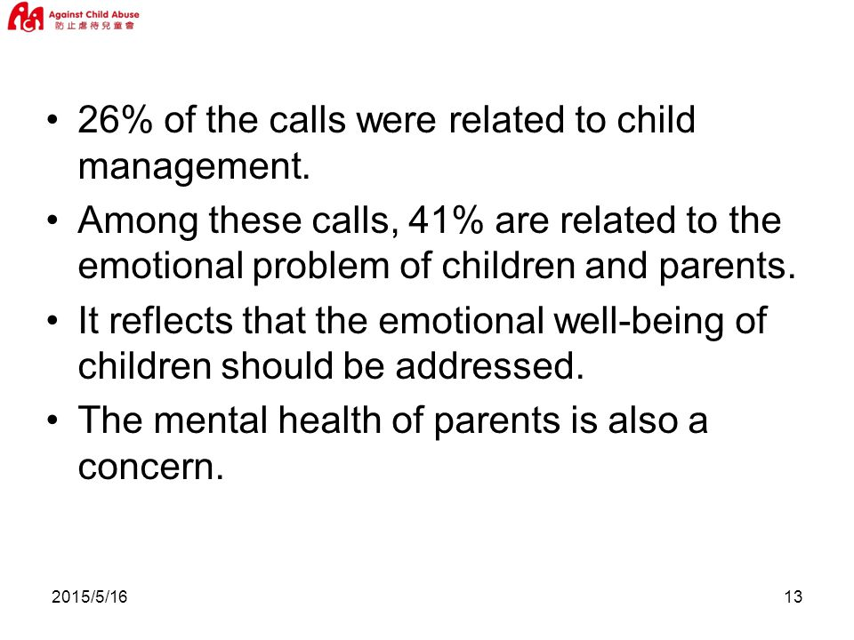 2015/5/ % of the calls were related to child management.