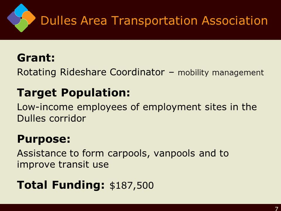 Dulles Area Transportation Association Grant: Rotating Rideshare Coordinator – mobility management Target Population: Low-income employees of employment sites in the Dulles corridor Purpose: Assistance to form carpools, vanpools and to improve transit use Total Funding: $187,500 7