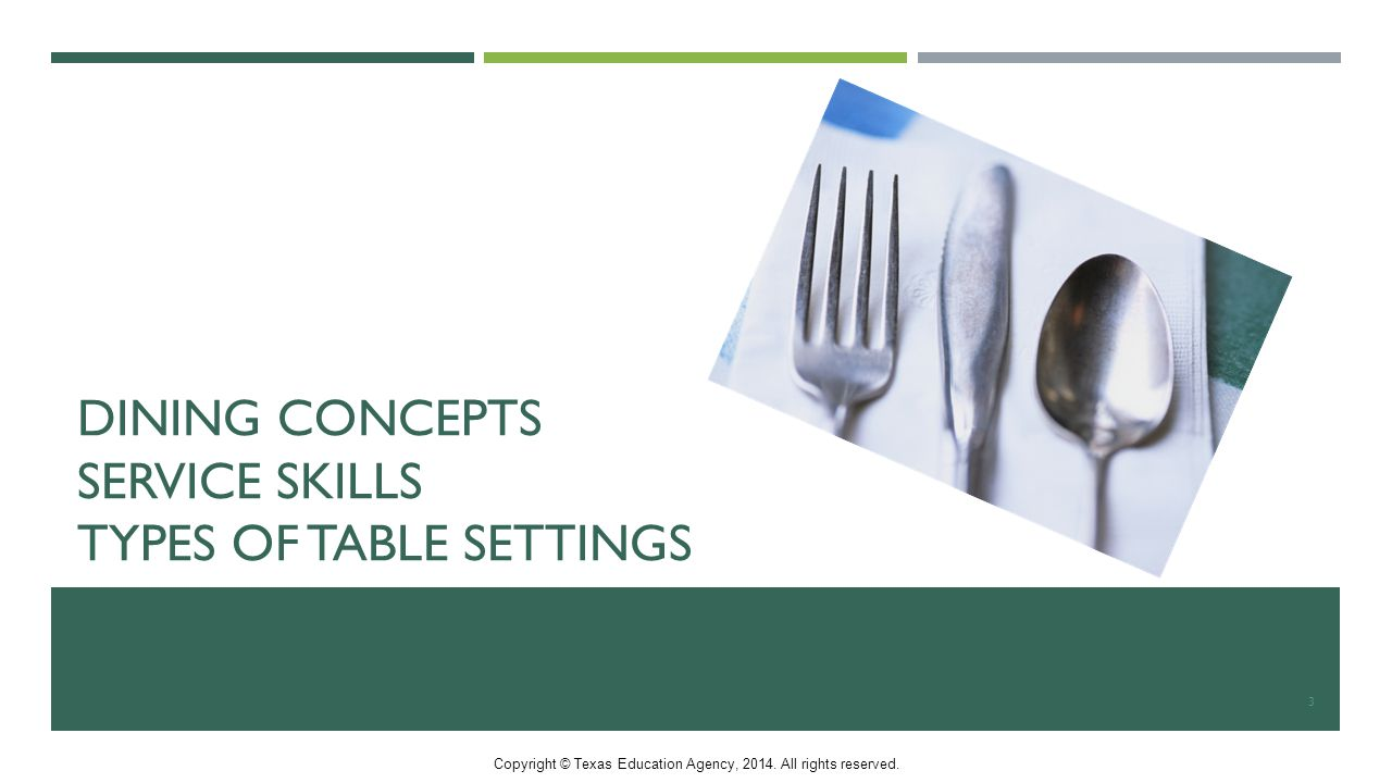 DINING CONCEPTS SERVICE SKILLS TYPES OF TABLE SETTINGS 3 Copyright © Texas Education Agency, 2014.