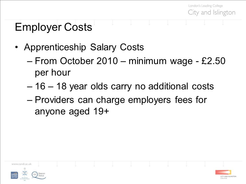 Employer Costs Apprenticeship Salary Costs –From October 2010 – minimum wage - £2.50 per hour –16 – 18 year olds carry no additional costs –Providers can charge employers fees for anyone aged 19+