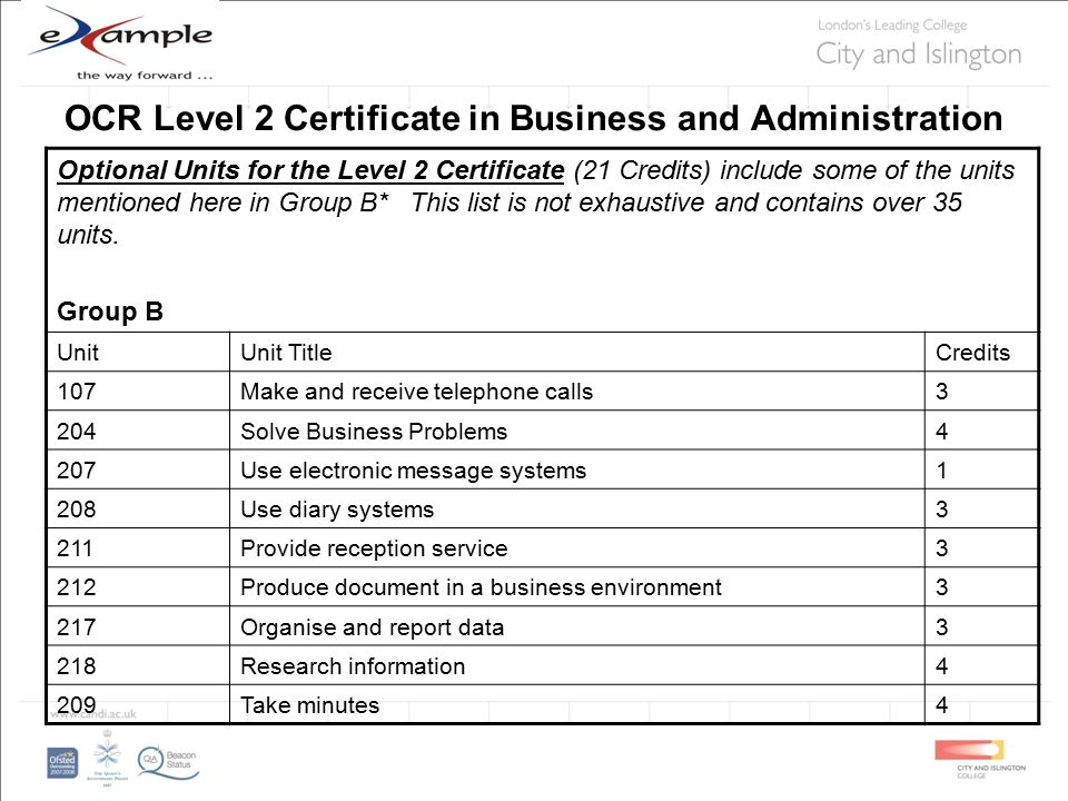 OCR Level 2 Certificate in Business and Administration Optional Units for the Level 2 Certificate (21 Credits) include some of the units mentioned here in Group B* This list is not exhaustive and contains over 35 units.