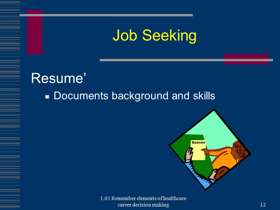 Job Seeking Resume' Documents background and skills 1.01 Remember elements of healthcare career decision making12