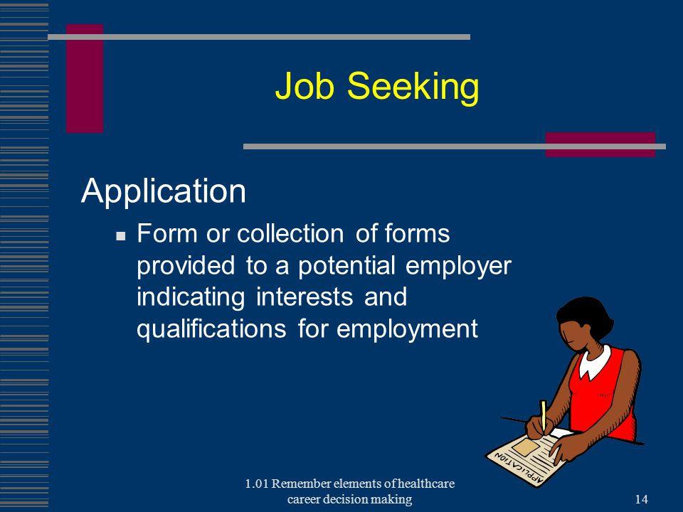 Job Seeking Application Form or collection of forms provided to a potential employer indicating interests and qualifications for employment 1.01 Remember elements of healthcare career decision making14