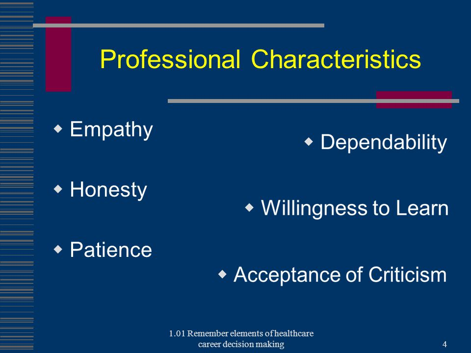 Professional Characteristics  Empathy  Honesty  Patience 1.01 Remember elements of healthcare career decision making4