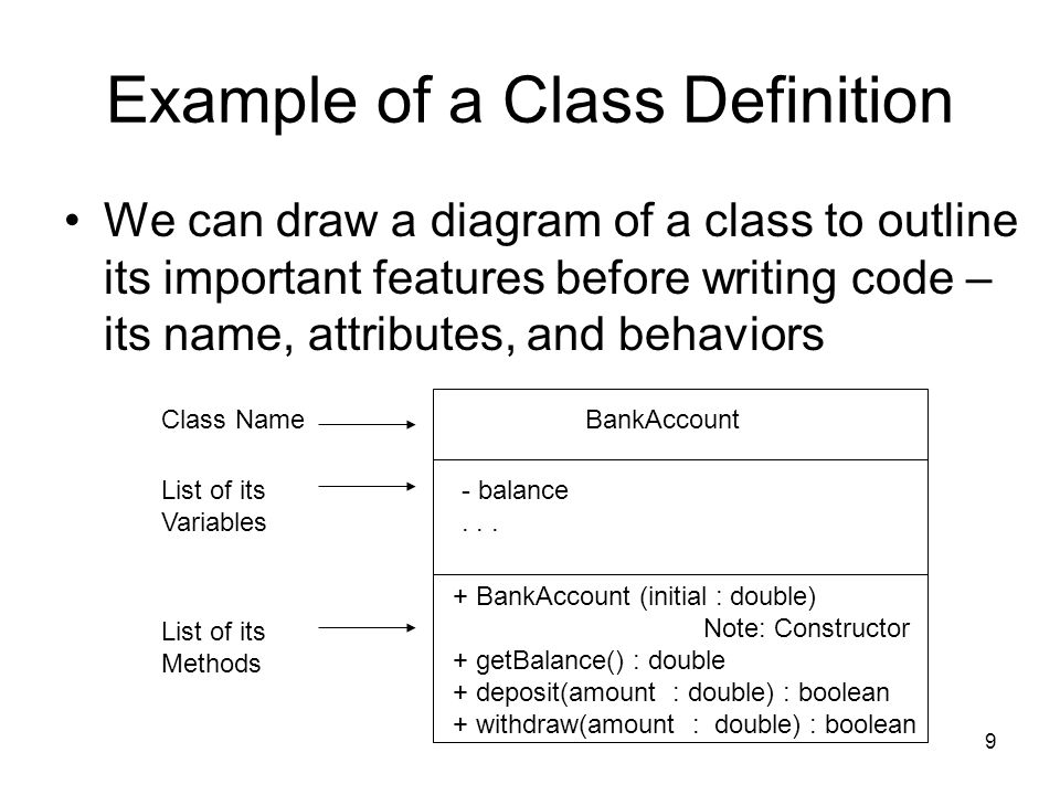 9 Example of a Class Definition We can draw a diagram of a class to outline its important features before writing code – its name, attributes, and behaviors BankAccount - balance...