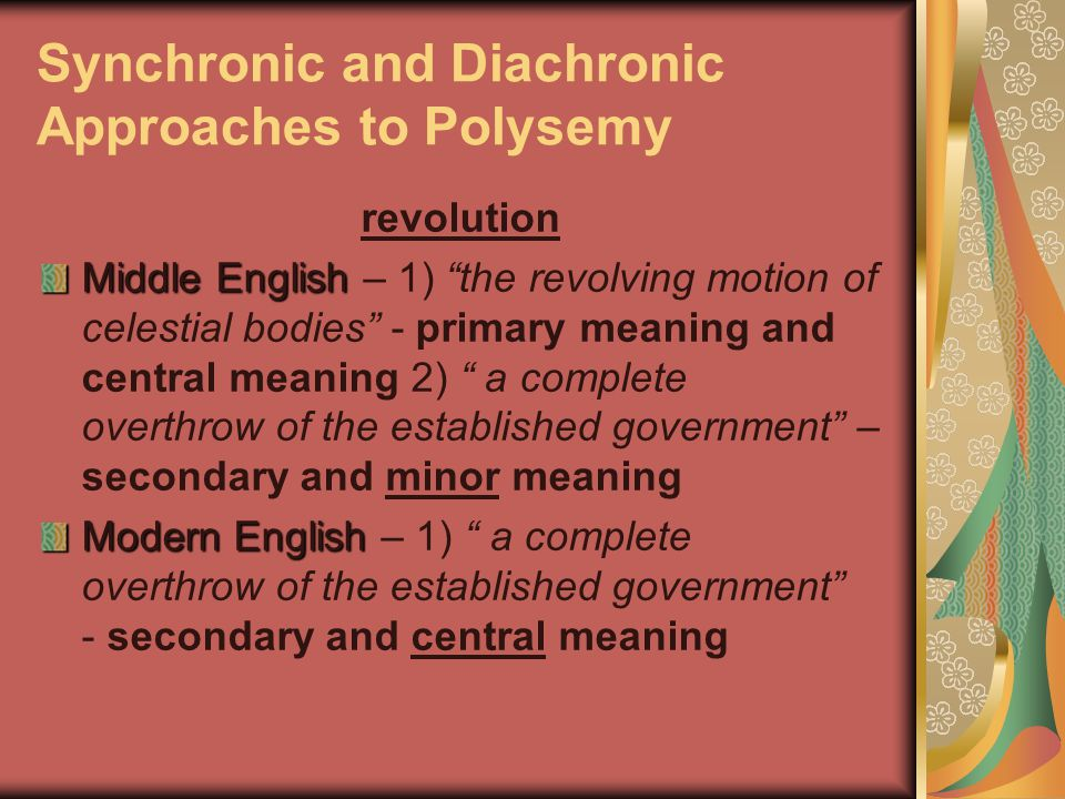 synchronic and diachronic approach Best answer: a diachronic approach is one that analyzes the evolution of something over time, allowing one to assess how that something changes throughout history.