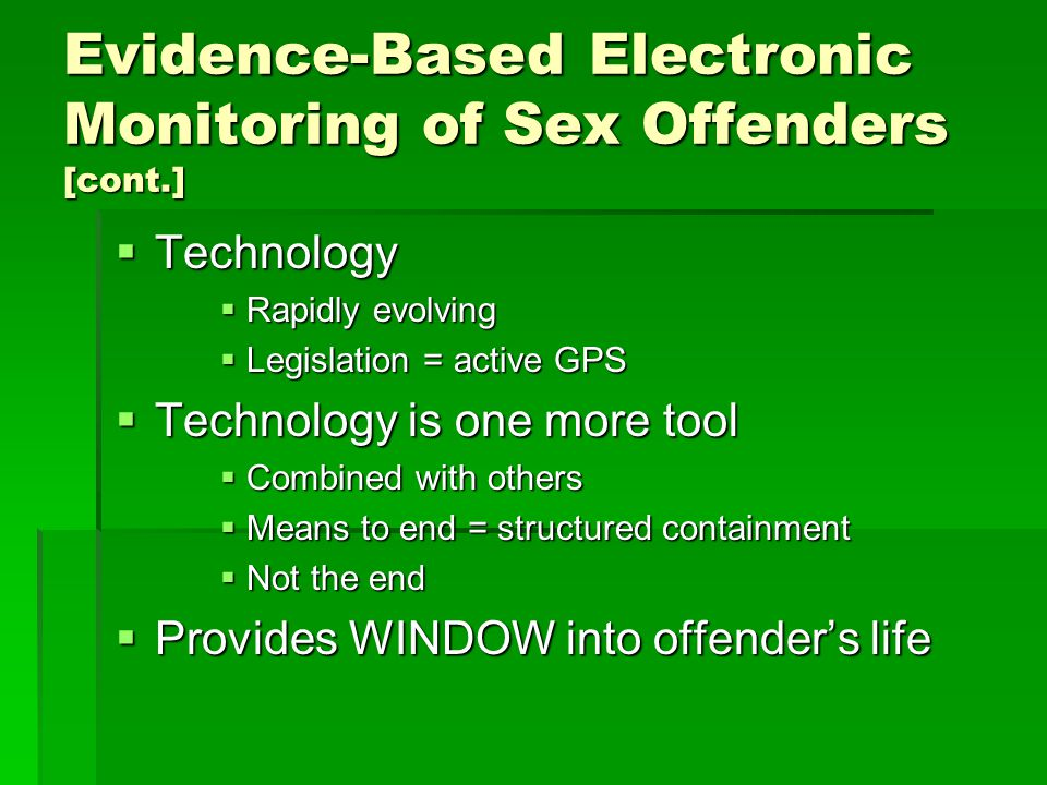 Sex offender containment model electronic monitoring
