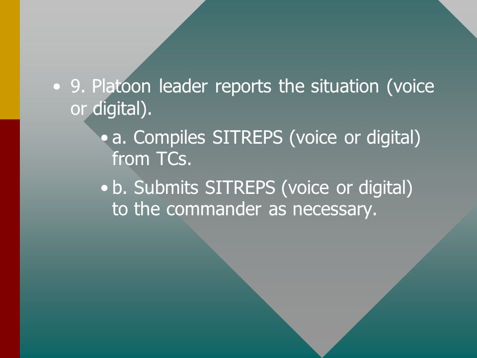 9. Platoon leader reports the situation (voice or digital).