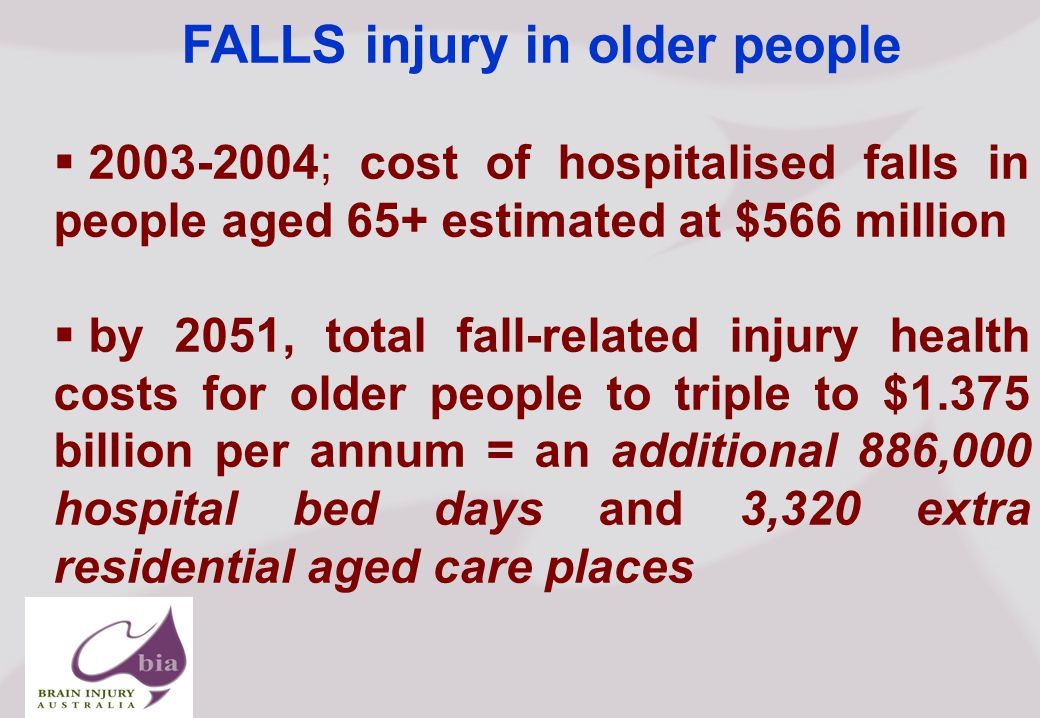 Brain Injury Network of South Australia AGM, Click to edit Master title style Click to edit Master subtitle style 5/16/2015 Brain Injury Network of South Australia AGM, FALLS injury in older people  ; cost of hospitalised falls in people aged 65+ estimated at $566 million  by 2051, total fall-related injury health costs for older people to triple to $1.375 billion per annum = an additional 886,000 hospital bed days and 3,320 extra residential aged care places