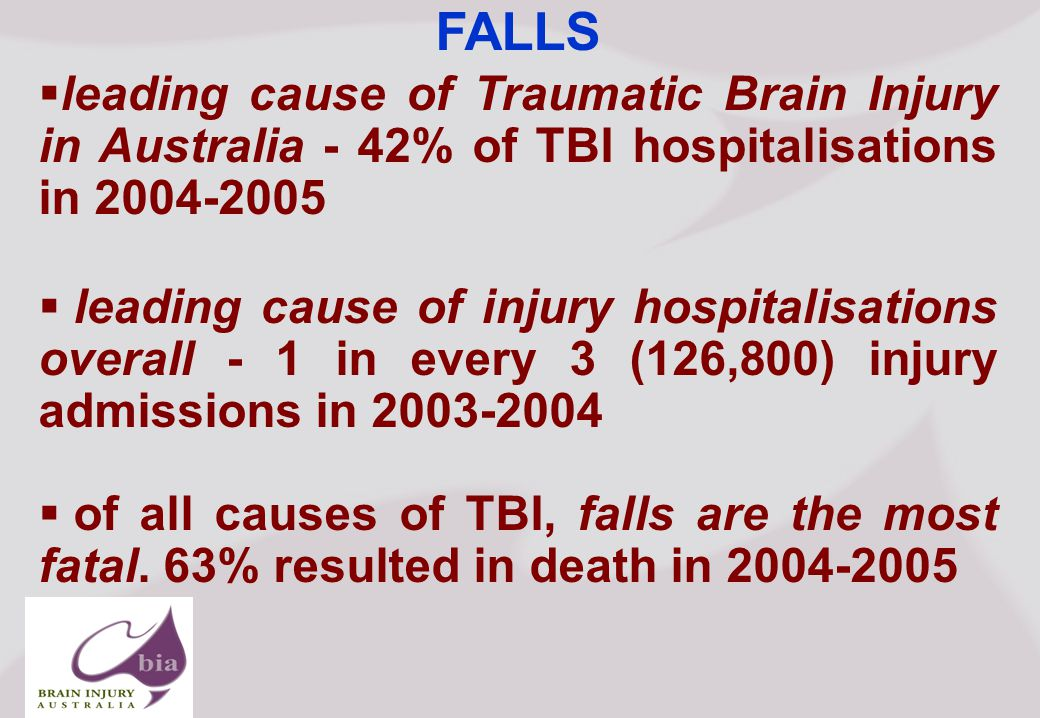 Brain Injury Network of South Australia AGM, Click to edit Master title style Click to edit Master subtitle style 5/16/2015 Brain Injury Network of South Australia AGM, FALLS  leading cause of Traumatic Brain Injury in Australia - 42% of TBI hospitalisations in  leading cause of injury hospitalisations overall - 1 in every 3 (126,800) injury admissions in  of all causes of TBI, falls are the most fatal.